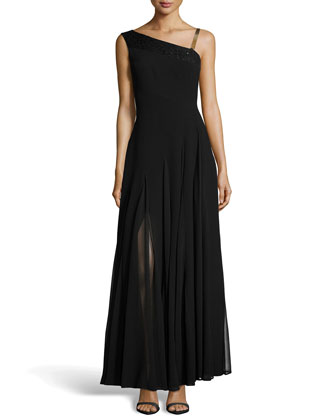 Sequined Asymmetric Pleated Crepe Gown, Black