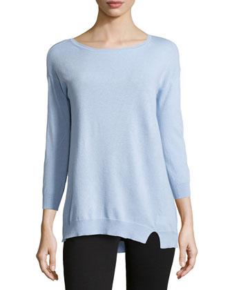 Three-Quarter-Sleeve Asymmetric Sweater, Chambray