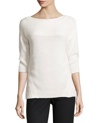 Three-Quarter-Sleeve Boat-Neck Knit Sweater, Chalk
