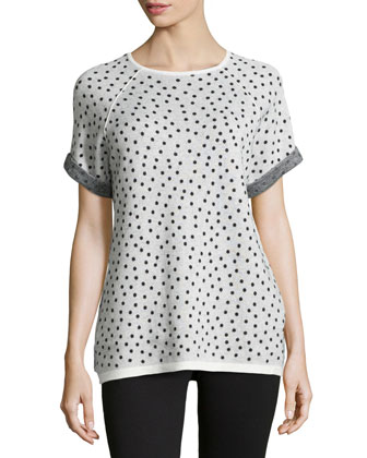 Short-Sleeve Polka-Dot Sweatshirt, Black/Chalk