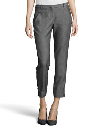 Skinny Cuffed Ankle Pants, Dark Heather Gray