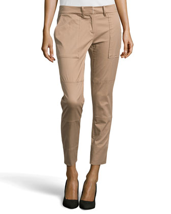 Tapered Twill Cargo Pants, Camel