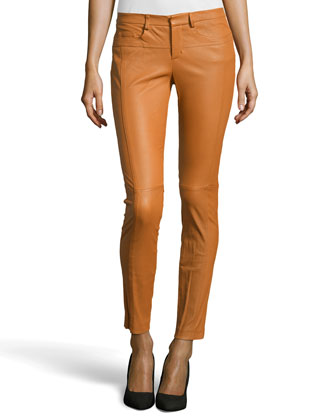 Skinny Faux-Leather Pants, Sienna