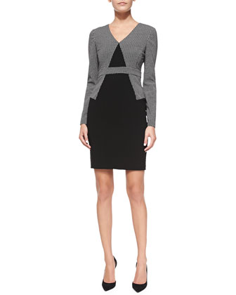 Long-Sleeve Combo Sheath Dress