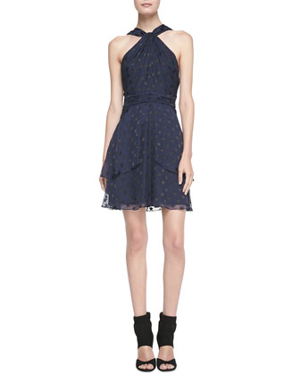 Star-Patterned Halter A-Line Dress