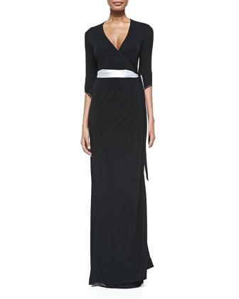3/4-Sleeve Long Wrap Dress
