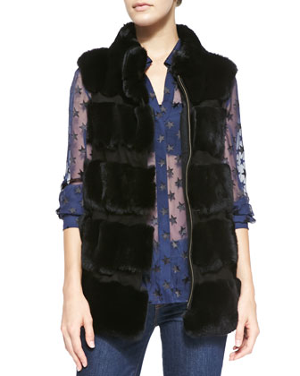 Funnelia Zip-Front Fur Vest & Lorelei Two Cosmic Twinkle Blouse