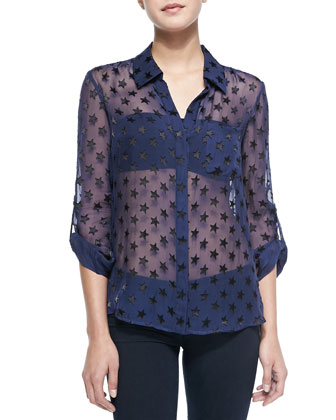 Lorelei Star-Embellished Sheer Blouse