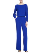 Long-Sleeve Blouson-Top Jumpsuit