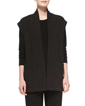 Basket-Weave Tunic Vest & Long Stretch-Knit Tunic, Women's