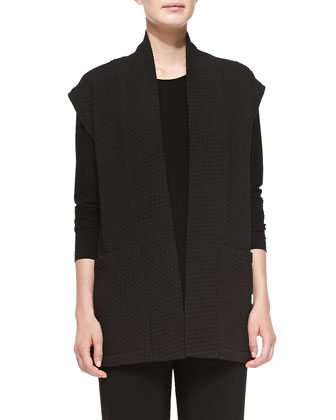 Basketweave Shawl-Collar Vest, Long-Sleeve Tunic & Stretch-Knit ...