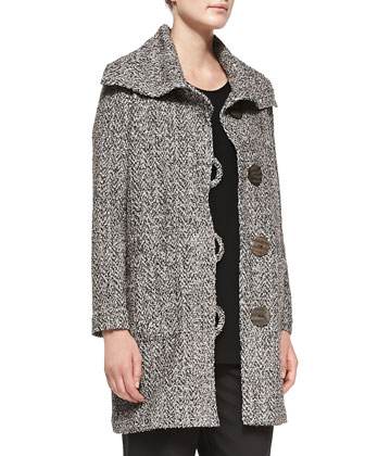 Long Tweed Button-Front Coat