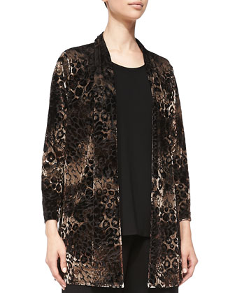 Animal-Print Velvet Cardigan, Stretch-Knit Long Tank & Stretch Knit ...