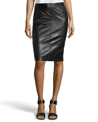 Paneled Leather Pencil Skirt, Black