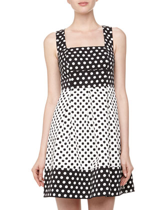 Open-Back Polka Dot Fit-And-Flare Dress, Black/White