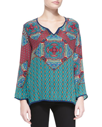 Lilah Printed Charmeuse Tunic, Women's