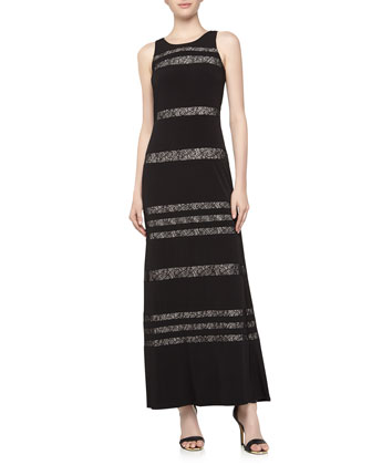 Floral Lace Inset Striped Maxi Dress, Black