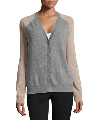 Long-Sleeve V-Neck Wool Cardigan, Heather Gray/Camel