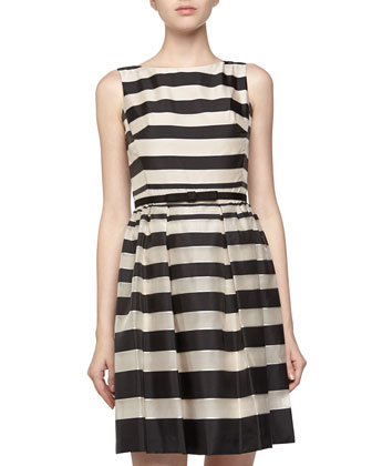 Sleeveless Fit-And-Flare Striped Dress, Ivory/Black