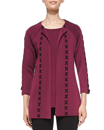 Whipstitch Long Jacket, African Violet, Women's