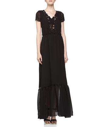 Short-Sleeve Crochet Voile Maxi Dress, Black