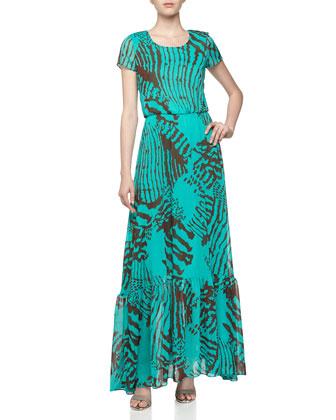 Short-Sleeve Printed Georgette Maxi Dress, Jade