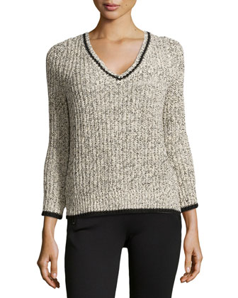 V-Neck Cable Knit Sweater, Chalk/Black