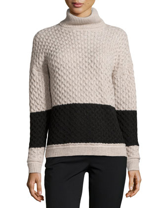 Long-Sleeve Mock-Neck Colorblock Sweater, Heather Natural/Black