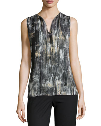 Brushstroke Print Silk Top, Black