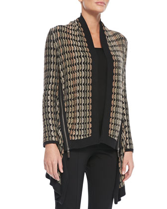 Side-Zip Long Cardigan, Women's