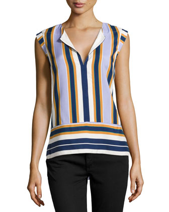 Striped Cap-Sleeve Silk Top