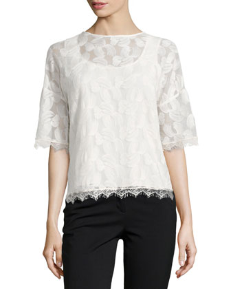 Short-Sleeve Boxy Mesh-Overlay Top, Cream