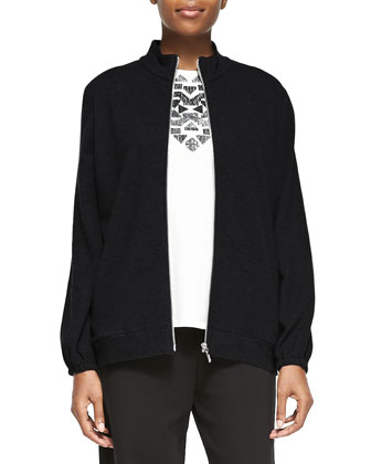 Mock-Neck Zip-Front Jacket, Sequined Sleeveless Shell & Full-Length Jog ...