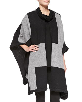 Road Map Wool-Blend Poncho, Women's