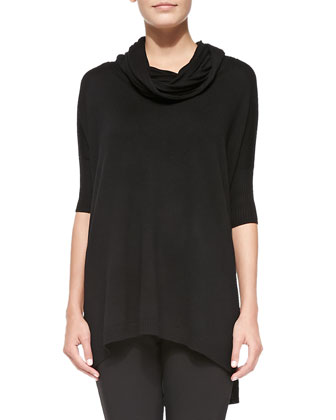 Cowl-Neck Silk-Cashmere Tunic, Black, Women's
