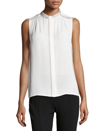 Sleeveless Contrast Chiffon Top, Chalk/Flint