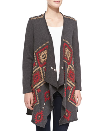 Nova Embroidered Draped Cardigan & Vintage Tapestry Printed Scarf, Women's