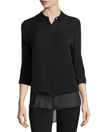 Dolman-Sleeve Double-Hem Top, Black
