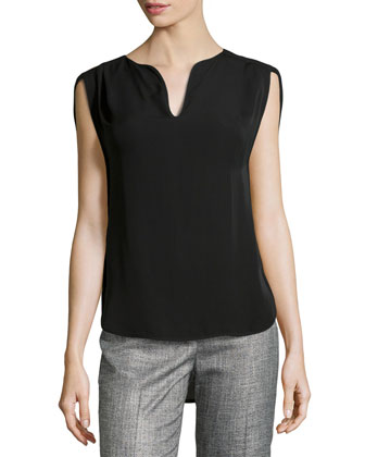 Slit Cap-Sleeve Pleated Top, Black