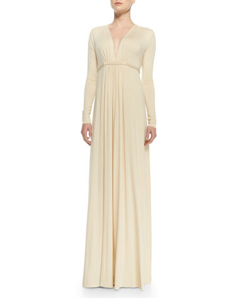 Long-Sleeve Jersey Maxi Caftan Dress, Women's
