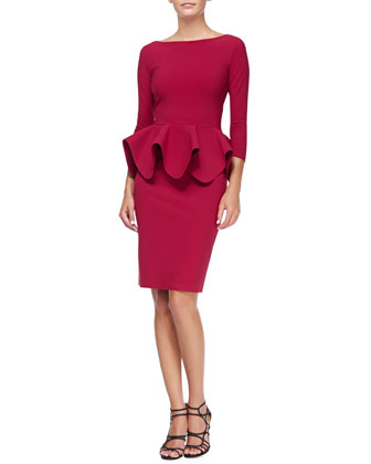 Eden 3/4-Sleeve Peplum Cocktail Dress