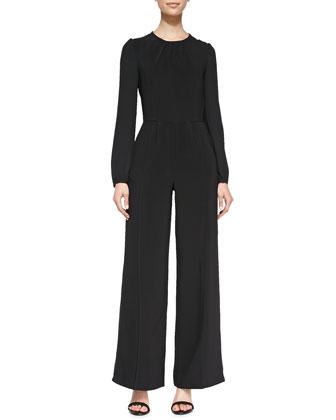 Chloe Shawl-Collar Leather Moto Jacket & Uschi Long-Sleeve Jersey Jumpsuit