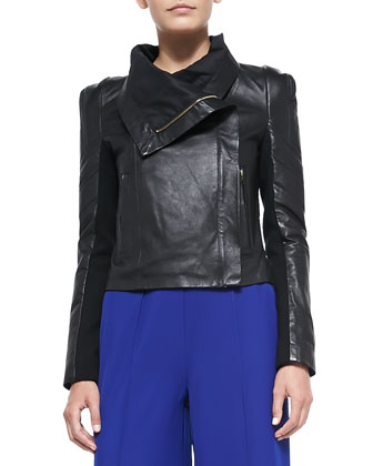 Chloe Shawl-Collar Leather Moto Jacket, Midnight