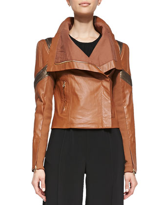Chloe Shawl-Collar Leather Moto Jacket, Taupe