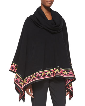 Desert Embroidered-Trim Knit Poncho & Live Forever Embroidered-Waist Pants