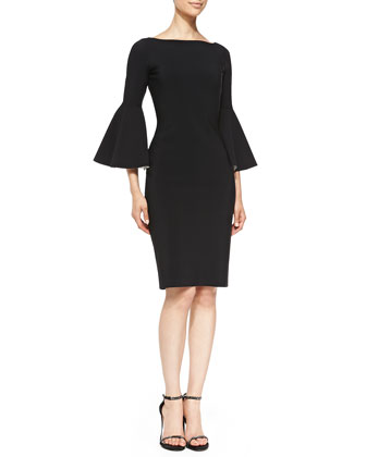 Natalia Sheath Dress with Bicolor Bell Sleeves