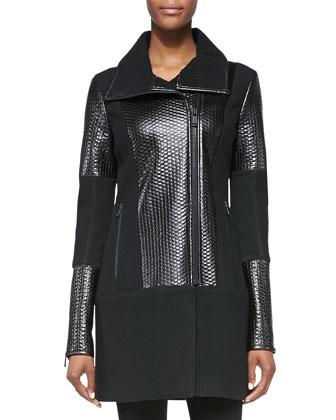 Marmara Art Leather/Knit Coat, Leather-Trim Silk Sleeveless Blouse & ...