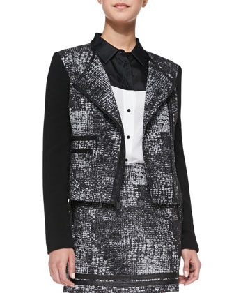Distressed Plaid/Solid Zip Jacket, Two-Tone Silk-Georgette Blouse & ...