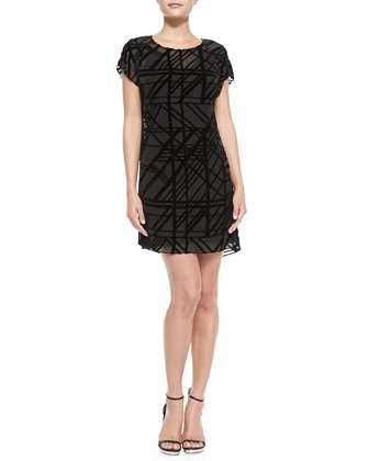 Shadow-Plaid Velvet-Burnout Dress