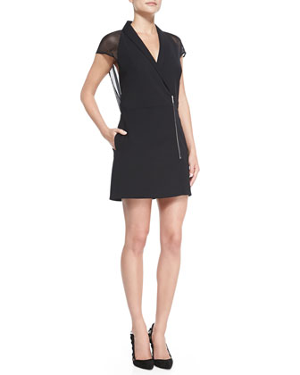 Sheer-Back Crepe Zip Dress